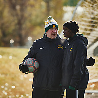 Women's Soccer Assistant Coach, Rob McCaffrey of the Regina Cougarsduring the Women's Soccer home game on Sun Oct 14 at U of R Field. Credit: Arthur Ward/Arthur Images