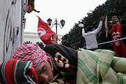 Tunisians from province camp in hunger strike under the the Prime Minister's office demanding the dissolution of the interim governement.