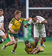 Twickenham, United Kingdom, Saturday, 24th  November 2018, RFU, Rugby, Stadium, England,  Manu TUILAGI, tackled by left, Michael HOOPER and Groundded, Jack Dempsey, during the Quilter Autumn International, England vs Australia, © Peter Spurrier