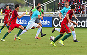 Slovenia defender Gal Puconja (8) dribbles the ball up the field in a game with Portugal during a CONCACAF boys under-15 championship soccer game, Sunday, August 11, 2019, in Bradenton, Fla. Portugal defeated Slovenia in the final in 2-0. (Kim Hukari/Image of Sport)