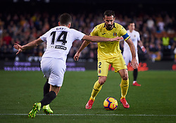 January 26, 2019 - Valencia, U.S. - VALENCIA, SPAIN - JANUARY 26: Mario Gaspar, defender of Villarreal CF competes for the ball with Jose Luis Gaya, defender of Valencia CF during the La Liga match between Valencia CF and Villarreal CF at Mestalla stadium on January 26, 2019 in Valencia, Spain. (Photo by Carlos Sanchez Martinez/Icon Sportswire) (Credit Image: © Carlos Sanchez Martinez/Icon SMI via ZUMA Press)