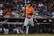 PHOENIX, AZ - AUGUST 15:  Jose Altuve #27 of the Houston Astros runs home to score in the fourth inning against the Arizona Diamondbacks at Chase Field on August 15, 2017 in Phoenix, Arizona.  (Photo by Jennifer Stewart/Getty Images)