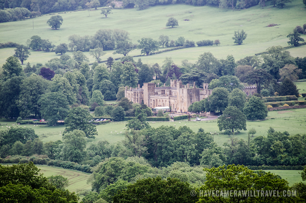 A shot of Sudeley Castle taken from a nearby hill. Sudeley Castle dates back to the 15th century, although an even older castle might have once been on the same site. It was the final home and burial place of King Henry VIII's last wife, Queen Catherine Parr (c. 1512-1548).