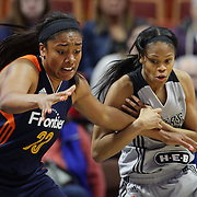 UNCASVILLE, CONNECTICUT- MAY 05: Former UConn Huskies Morgan Tuck #33, (left), of the Connecticut Sun and Moriah Jefferson #4 of the San Antonio Stars challenge for the ball during the San Antonio Stars Vs Connecticut Sun preseason WNBA game at Mohegan Sun Arena on May 05, 2016 in Uncasville, Connecticut. (Photo by Tim Clayton/Corbis via Getty Images)