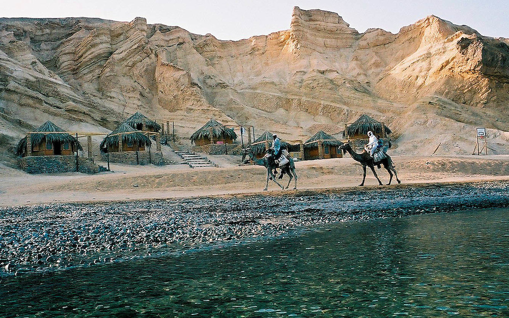 Rocksea beach in Sinai Egypt, 04.7.2004..Egyptian ideal tourist  place for a desert and sea vacation....