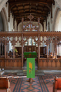 Interior of church of Saint Lawrence, Lechlade, Gloucestershire, England, UK