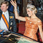 NLD/Amsterdam/20150624- Galadiner voor het Corps Diplomatique Koninklijk Paleis Amsterdam, vertrek Koningin Maxima
