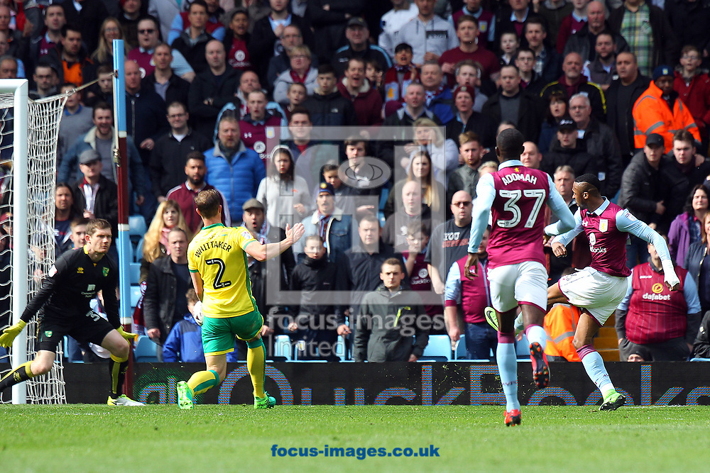 Jonathan Kodjia of Aston Villa scores his sides 1st goal during the Sky Bet Championship match at Villa Park, Birmingham<br /> Picture by Paul Chesterton/Focus Images Ltd +44 7904 640267<br /> 01/04/2017