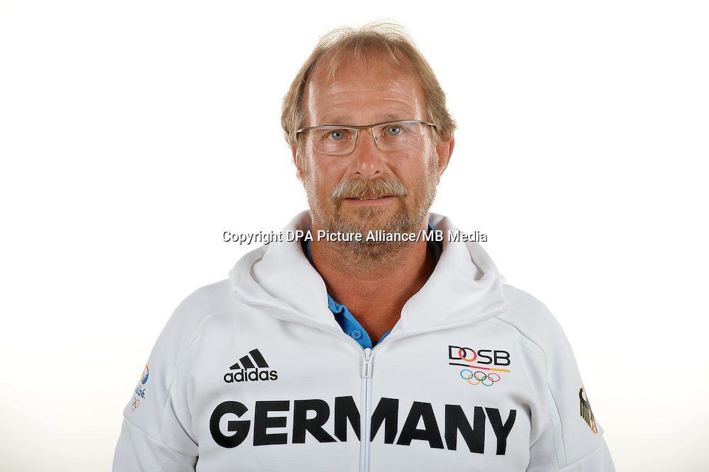 Werner Nowak poses at a photocall during the preparations for the Olympic Games in Rio at the Emmich Cambrai Barracks in Hanover, Germany. July 08, 2016. Photo credit: Frank May/ picture alliance.   usage worldwide