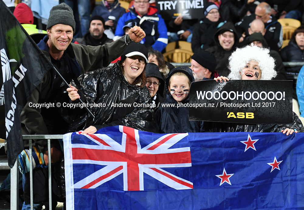 Fans and supporters.<br /> Rugby Championship test match rugby union. New Zealand All Blacks v Argentina Los Pumas, Yarrow Stadium, New Plymouth. New Zealand. Saturday 9 September 2017. &copy; Copyright photo: Andrew Cornaga / www.Photosport.nz
