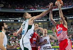 Roberas Javtokas #15 of Lithuania vs Dario Saric #8 of Croatia during basketball match between National teams of Lithuania and Croatia in Semifinals at Day 17 of Eurobasket 2013 on September 20, 2013 in Arena Stozice, Ljubljana, Slovenia. (Photo by Vid Ponikvar / Sportida.com)