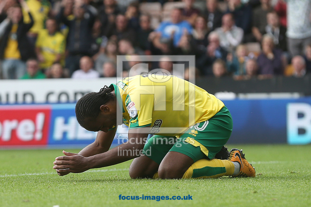 Cameron Jerome of Norwich puts the ball in the net but the goal is disallowed during the Sky Bet Championship match at Carrow Road, Norwich<br /> Picture by Paul Chesterton/Focus Images Ltd +44 7904 640267<br /> 23/09/2017