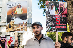 "London, UK. 11 September, 2019. Activists from the International Campaign Against Injustice protest opposite Downing Street to call on the UK Government to cease selling arms to Saudi Arabia, the United Arab Emirates and other members of the Saudi-led coalition responsible for the attacks on Yemen which have led to what the UN has described s ""the world's worst humanitarian crisis"". The protest coincided with the DSEI arms fair in London, attended by a delegation from Saudi Arabia."