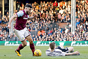 Aston Villa midfielder Robert Snodgrass (7) takes it past Fulham defender Matt Targett (21) with a dummy shot during the EFL Sky Bet Championship match between Fulham and Aston Villa at Craven Cottage, London, England on 17 February 2018. Picture by Andy Walter.