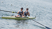 Caversham. Berkshire. UK<br /> OUWBC, stroke lauren KADER and Maddie BADCOTT.  2016 GBRowing U23 Trials at the GBRowing Training base near Reading, Berkshire.<br /> <br /> Tuesday  12/04/2016<br /> <br /> [Mandatory Credit; Peter SPURRIER/Intersport-images]