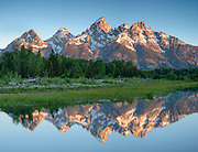 Sunrise illuminates the Tetons Range at Schwabacher's Landing along the Snake River in Grand Teton National Park, Jackson Hole, Wyoming