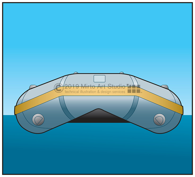 vector artwork of an inflatable dinghy.