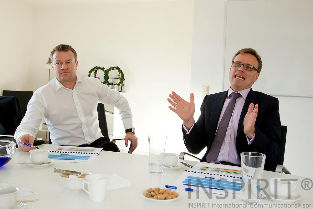 Valueinvest i Luxembourg den 13 december 2010. Fra venstre Jens Hansen, Managing Director, CIO,  og Klaus Petersen, Portfolio Manager. Photo Erik Luntang /INSPIRIT Photo