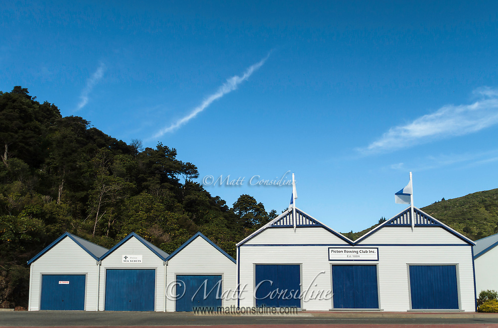 Old style blue and white boat shed in Picton. (Photo by Travel Photographer Matt Considine)