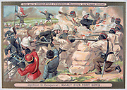 First Franco-Hova War 1883-1886: French assault on Fort Hova. War ended with the Treaty of Tamatave, January 1886.  France, Colonisation, Battle, Solar topee, Malagassy, Madagascar, Chromolithograph, Trade Card