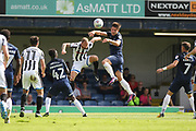 Matty Done wins a header during the EFL Sky Bet League 1 match between Southend United and Rochdale at Roots Hall, Southend, England on 2 September 2017. Photo by Daniel Youngs.