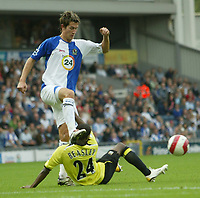 Photo: Aidan Ellis.<br /> Blackburn Rovers v Manchester City. The Barclays Premiership. 17/09/2006.<br /> City's DeMarcus Beasley feels the boot of Rovers Morten Gamst Pedersen