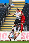 Swansea City defender Connor Roberts (23) and Birmingham City defender Kristian Pedersen (3) during the EFL Sky Bet Championship match between Swansea City and Birmingham City at the Liberty Stadium, Swansea, Wales on 19 September 2020.