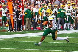 NORMAL, IL - October 05: Adam Cofield makes the turn on the right end making his way to the endzone for 6 points during a college football game between the ISU (Illinois State University) Redbirds and the North Dakota State Bison on October 05 2019 at Hancock Stadium in Normal, IL. (Photo by Alan Look)