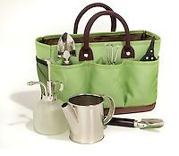lime green and brown canvas gardening bag with tools