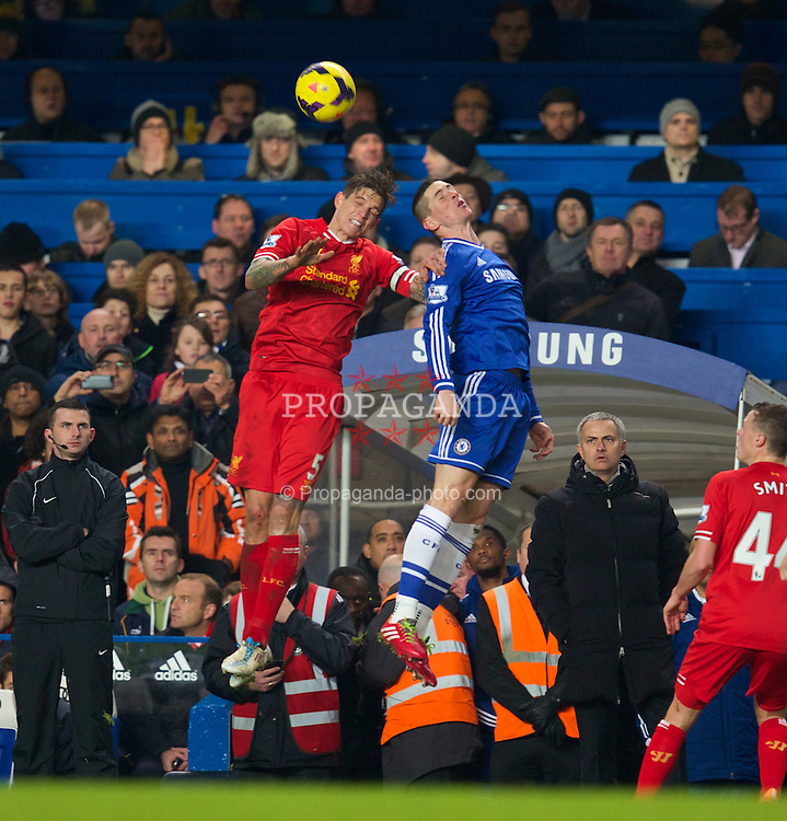 LONDON, ENGLAND - Sunday, December 29, 2013: Liverpool's Daniel Agger in action against Chelsea's Fernando Torres during the Premiership match at Stamford Bridge. (Pic by David Rawcliffe/Propaganda)