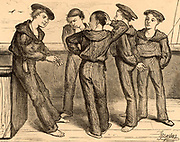 Nobody's Children'  2: The Manufactured Article. Destitute boys rescued from the London streets being trained to be sailors on the naval training ship 'Chichester'. Illustration by Frederick Barnard (1846-1896) from 'Cassell's Magazine' (London, c1867).