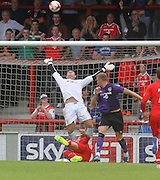 Kyle Letheren makes a great save to deny Jack Sampson - Morecambe v Dundee, pre-season friendly at the Globe Arena<br /> <br />  - &copy; David Young - www.davidyoungphoto.co.uk - email: davidyoungphoto@gmail.com