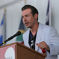 CANASTOTA, NY - JUNE 14: Actor and parade grand marshall Jon Seda speaks during the induction ceremony at the International Boxing Hall of Fame induction Weekend of Champions events on June 14, 2015 in Canastota, New York. (Photo by Alex Menendez/Getty Images) *** Local Caption *** Jon Seda