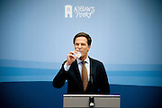 Premier Mark Rutte tijdens de wekelijkse persconferentie in Nieuwspoort.<br /> <br /> The Dutch prime minister Mark Rutte at his weekly press conference.