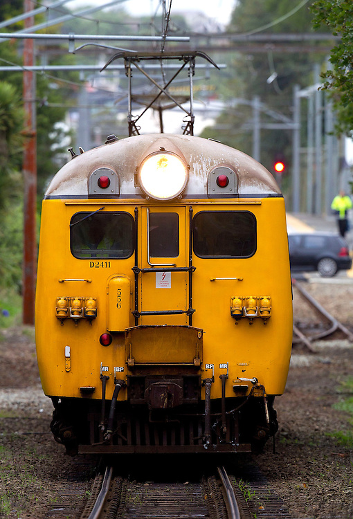 An old English Electric passenger train leaves Khandallah Railway Station for the last time on the Johnsoville railway line, Wellington, New Zealand, Monday, March 19, 2011. The new Martangi electric trains take over the line from today and this was the last trip by the 60 year old passenger trains. Credit: SNPA / Marty Melville.