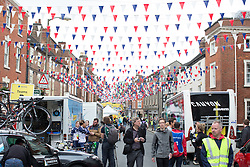 Bunting decorates the main street of Ashbourne, the start of the Aviva Women's Tour 2016 - Stage 3. A 109.6 km road race from Ashbourne to Chesterfield, UK on June 17th 2016.