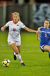 NORMAL, IL - October 17:  Logan Ziegler & Katie Wells during an NCAA Missouri Valley Conference (MVC)  women's soccer match between the Indiana State Sycamores and the Illinois State Redbirds October 17 2018 on Adelaide Street Field in Normal IL (Photo by Alan Look)
