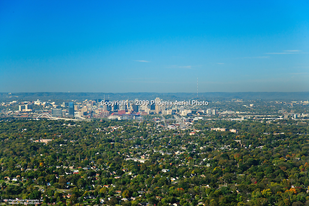 Aerial photo of the Nashville Skyline from the East on a clear day.