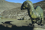 Replica of dinosaur at Valdecevillo site in ENCISO La Rioja region Spain