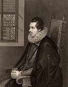 Charles Blount, Earl of Devonshire, 8th Baron Mountjoy (1563-1606) English courtier and soldier.  Engraving.