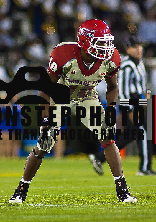 Delaware State Defensive back Tavis Tabb #10 during a Week 3 NCAA football game against Delaware in the fourth quarter Saturday Sept. 17, 2011 in Newark DE. ..Delaware defeated Delaware State 45-0 in front of 18,011 fans at Delaware Stadium Saturday Sept. 17, 2011 in Newark DE...Delaware will return home Sept. 24, 2011 for a Colonial Athletic Association showdown with Old Dominion at 12:pm at Delaware Stadium. ..Delaware state will hit the road for two game at Orangeburg South Carolina and at Tallahassee, Florida before returning home Saturday October. 8, 2011 to face Norfolk State. ..(Monsterphoto/Saquan Stimpson)