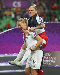 May 18, 2019 - Budapest, Hungary - Ada Hegerberg of Olympique Lyonnais and Jessica Fishlock of Olympique Lyonnais celebrate..during the UEFA Women's Champions League Final between Olympique Lyonnais and FC Barcelona Women at Groupama Arena on May 18, 2019 in Budapest, Hungary  (Credit Image: © Action Foto Sport/NurPhoto via ZUMA Press)