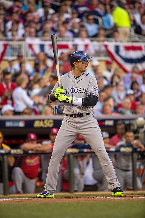 MINNEAPOLIS, MN- JULY 15: National League All-Star Troy Tulowitzki #2 of the Colorado Rockies during the 85th MLB All-Star Game at Target Field on July 15, 2014 in Minneapolis, Minnesota. (Photo by Brace Hemmelgarn) *** Local Caption *** Troy Tulowitzki