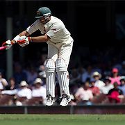 Australian batsman Matthew Hayden is hit by a delivery during day four of the third test match between Australia and South Africa at the Sydney Cricket Ground on January 6, 2009 in Sydney, Australia. Photo Tim Clayton