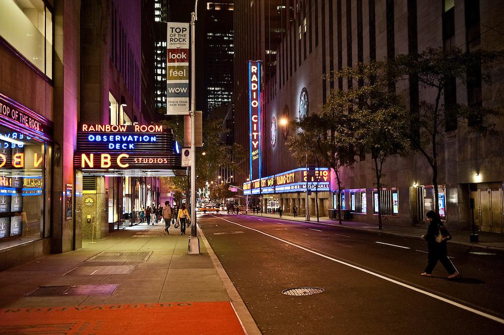 Street view of NBC studios and Radio City, New York