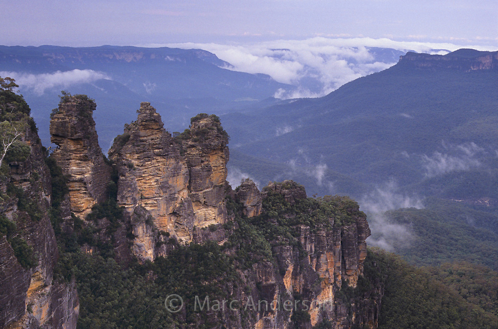 Rock formations known as the Three Sisters at the Blue Mountains National Park, NSW, Australia.