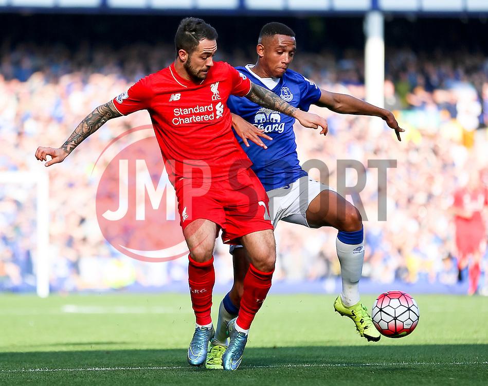 Danny Ings of Liverpool and Everton's Brendan Galloway   - Mandatory byline: Matt McNulty/JMP - 07966 386802 - 04/10/2015 - FOOTBALL - Goodison Park - Liverpool, England - Everton  v Liverpool - Barclays Premier League