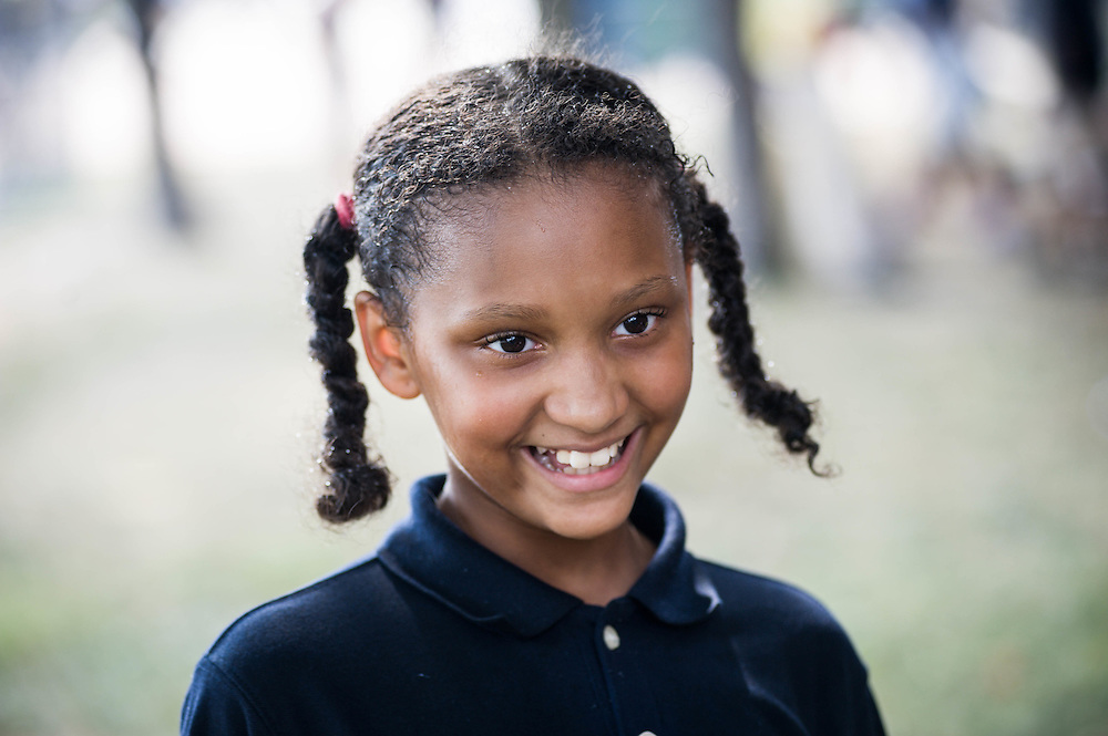 An Epiphany School student smiles during recess in Dorchester, MA.