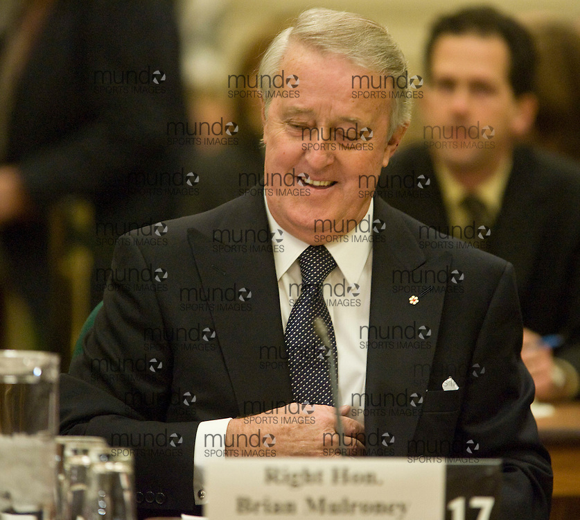 Ottawa, Ontario ---13/12/07--- Former Canadian Prime Minister Brian Mulroney prepares to testify before the House of Commons ethics committee in Ottawa, Ontario, Thursday 13 December, 2007 about his dealings with German-Canadian businessman Karlheinz Schreiber..GEOFF ROBINS AFP