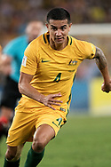 SYDNEY, NSW- NOVEMBER 15: Australian Tim Cahill (4) takes the ball downfield at the Soccer World Cup Qualifier between Australia and Honduras on November 10, 2017. (Photo by Steven Markham/Icon Sportswire)